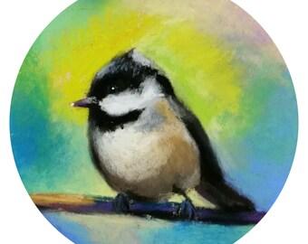 "Little Bird. 5""1/4 Diameter - Original Pastel on Paper Painting. Art, colorful, cute, gift idea, home, decoration"