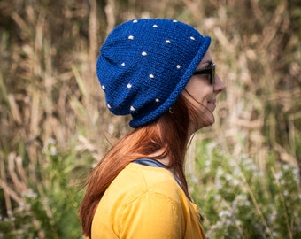 Blue Polka Slouchy Beanie Hat / Fall Winter Knit Navy Blue Hat With Embroidered Dots / Dark Blue Urban Style Hat / Fairytale Toadstool Hat
