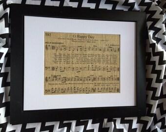 "Hymn Burlap Print ""O Happy Day"""