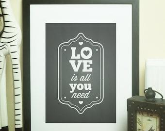 Custom Home Decor- Love Is All You Need Chalkboard Print Wall Art