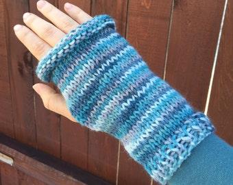Fingerless Gloves - Blue White Purple Teal