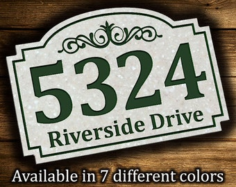 "Address Plaque 9.5"" x 14"" Personalized Outdoor House Number Address Sign Plaque Housewares Home Decor Corian Sign Street Address Sign"