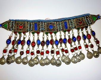 Old Kuchi Tribal-Choker from Afghanistan with red and blue Glassjewels, Tribal-Necklace
