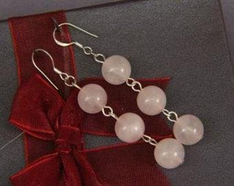Earrings 3X Rose Pink Quartz 10mm Round Beads 925 ESQS1745