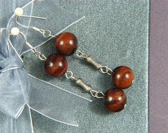 Earrings 2X Red Tiger Eye 12mm Round Beads 925 ESTE1202