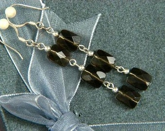 "Earrings 3X Smokey Quartz 8mm Facet Pillows 925 2.25"" ESSQ1521"