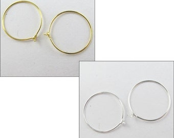 60Pcs Silver Or Gold Plated Large Round Hoop Earring Hook 30mm For Jewelry DIY