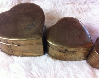 Heart shaped brass boxes