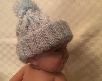 Hand Knit Baby Hat New Born Boy