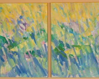 """Christian Art Abstract Painting Diptych  32"""" x 20"""" x 0.625"""" """"Keep On Casting"""" In Memory of Janny & Bill Grein"""