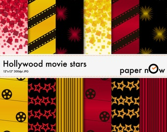 Hollywood Digital Paper, Movies Digital Paper - this hollywood-theme digital paper set comes with films and red carpet patterns