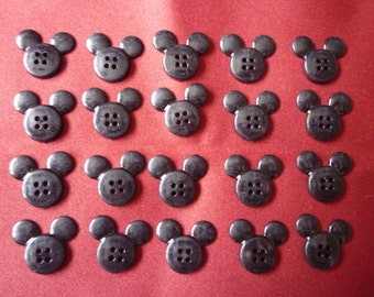 20 x Disney Mickey Minnie Mouse Head Button, Embellishment, Flat Backed, Plastic, 4 hole.