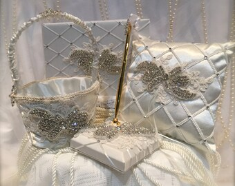 silver rhinestone flower girl basket, ring pillow, guest book and pen set