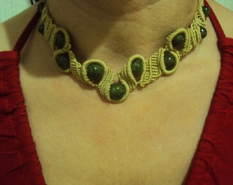 Macrame necklace with semipresious stones (Jade)