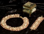 "Creamy light pink necklace, bracelet, handmade festive original jewelery set ""Sparks of a champagne"", pearls, rose quartz, seed beads, gems"