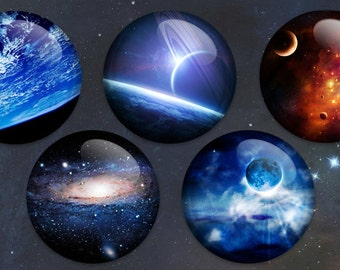 Stunning  and Beautiful Space Buttons or Magnets 2.25 inch in size