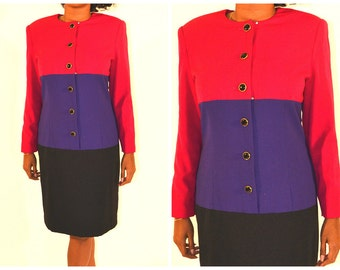 Long Sleeve Color Block Dress Size 12