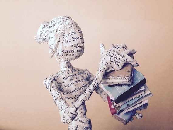 Book sculpture, librarian, book art, poetry, sculpture, bookseller, paper anniversary, wedding cake topper, paper sculpture, 1st anniversary