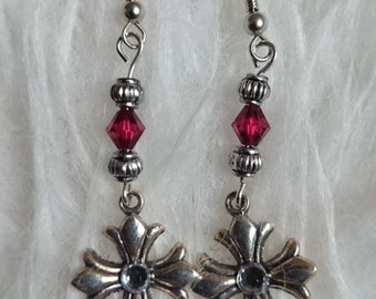 Red dangly star earring  #39