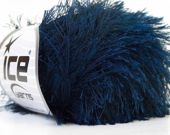 Navy Blue Eyelash Ice Yarn, Dark Blue Fun Fur, Long Fancy Yarn, Fiber Art, 22781