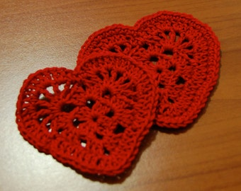 Crochet heart coaster pattern for Christmas, Valentine's Day, Wedding or other special occasion