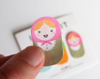 Russian doll sticky notes, russian doll post it notes / Cute Page Markers
