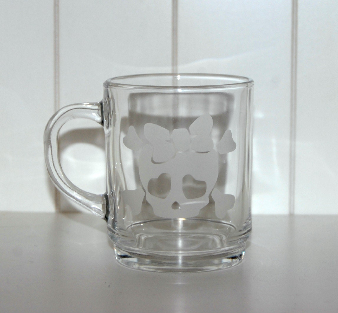 cute skull coffee mug etched glass mug skull and bow girly