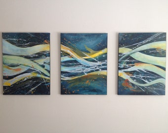 Abstract Triptych Painting