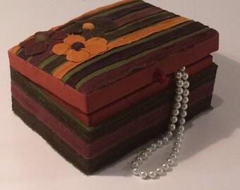Vintage Purva Bohemian Fabric Jewelry Box