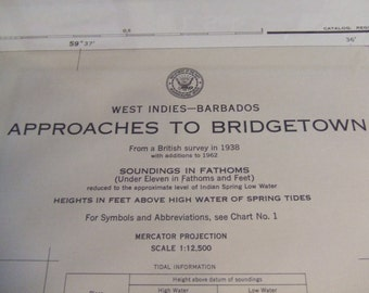Approaches to Bridgetown, Barbados, West Indies, From a British Survey in 1938 - Includes Carlisle Bay - Nautical Chart #1879