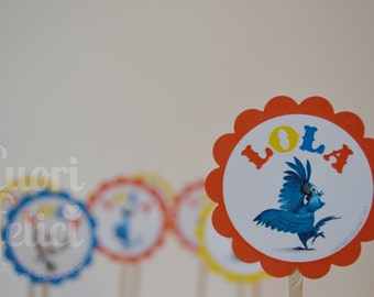 Cupcakes Toppers Rio Party Printables. RIO Party. Rounded Label RIO Party