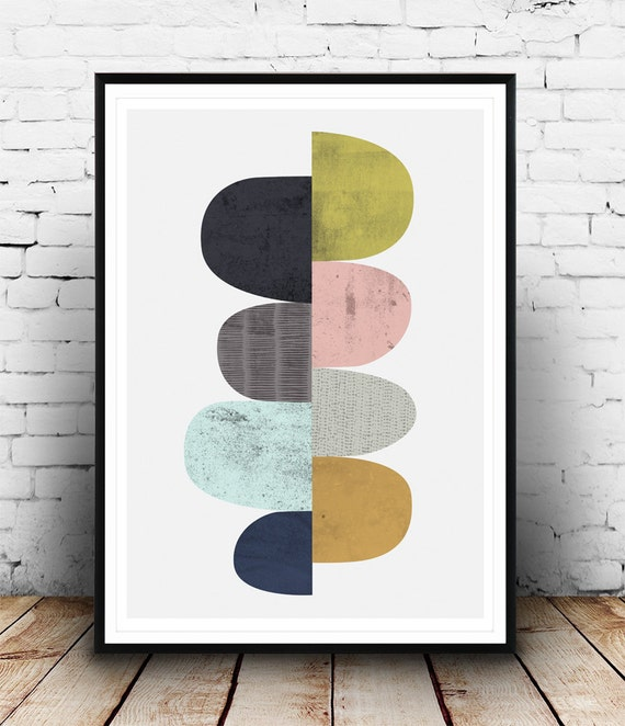 abstract poster mid century modern art scandinavian design. Black Bedroom Furniture Sets. Home Design Ideas