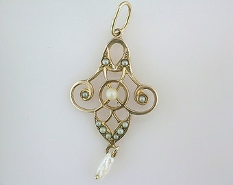 Vintage Antique Pearl Yellow Gold Victorian Filigree Lavalier Pendant