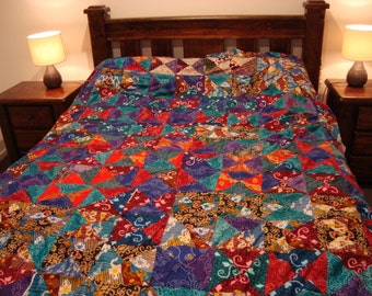 BATIK QUILT TOP, Beautiful Handmade Only 1 Available
