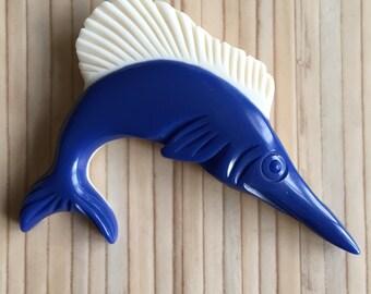 Vintage inspired swordfish brooch 40s 50s style bakelite style