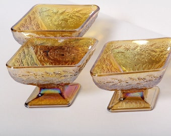 Set of 3 Vintage Carnival Glass Diamond Shaped Bowls