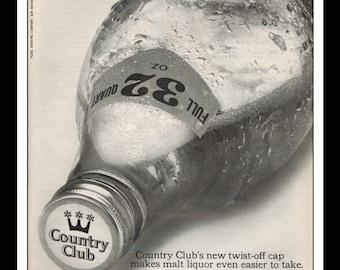"Vintage Print Ad January 1966 : Country Club Malt Liquor 32 oz Quart Wall Art Decor 8.5"" x 11"" Advertisement"
