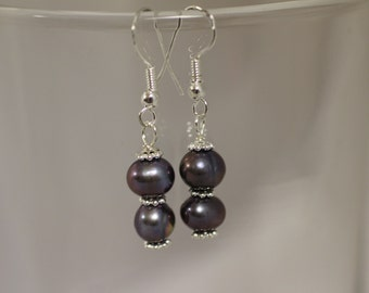 Purple Pearls with Daisy Spacer Beads Dangle Earrings. (S-150009)