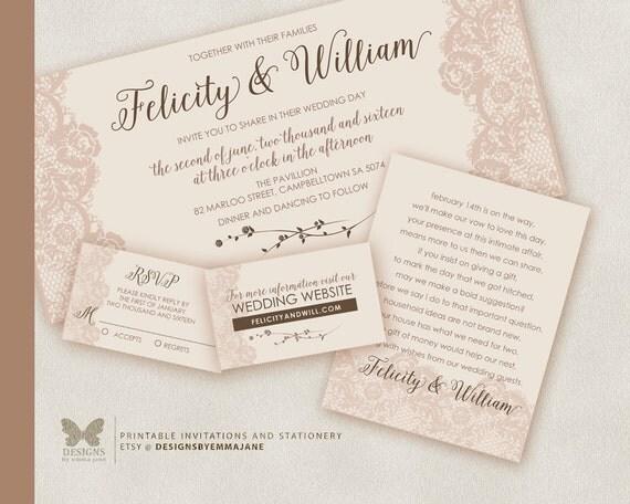 Items Similar To Printable Wedding Invitation Suite DIY Wedding Invitation Wedding Invitation