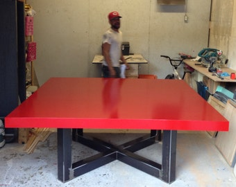 X Frame Table, Gloss Red Top