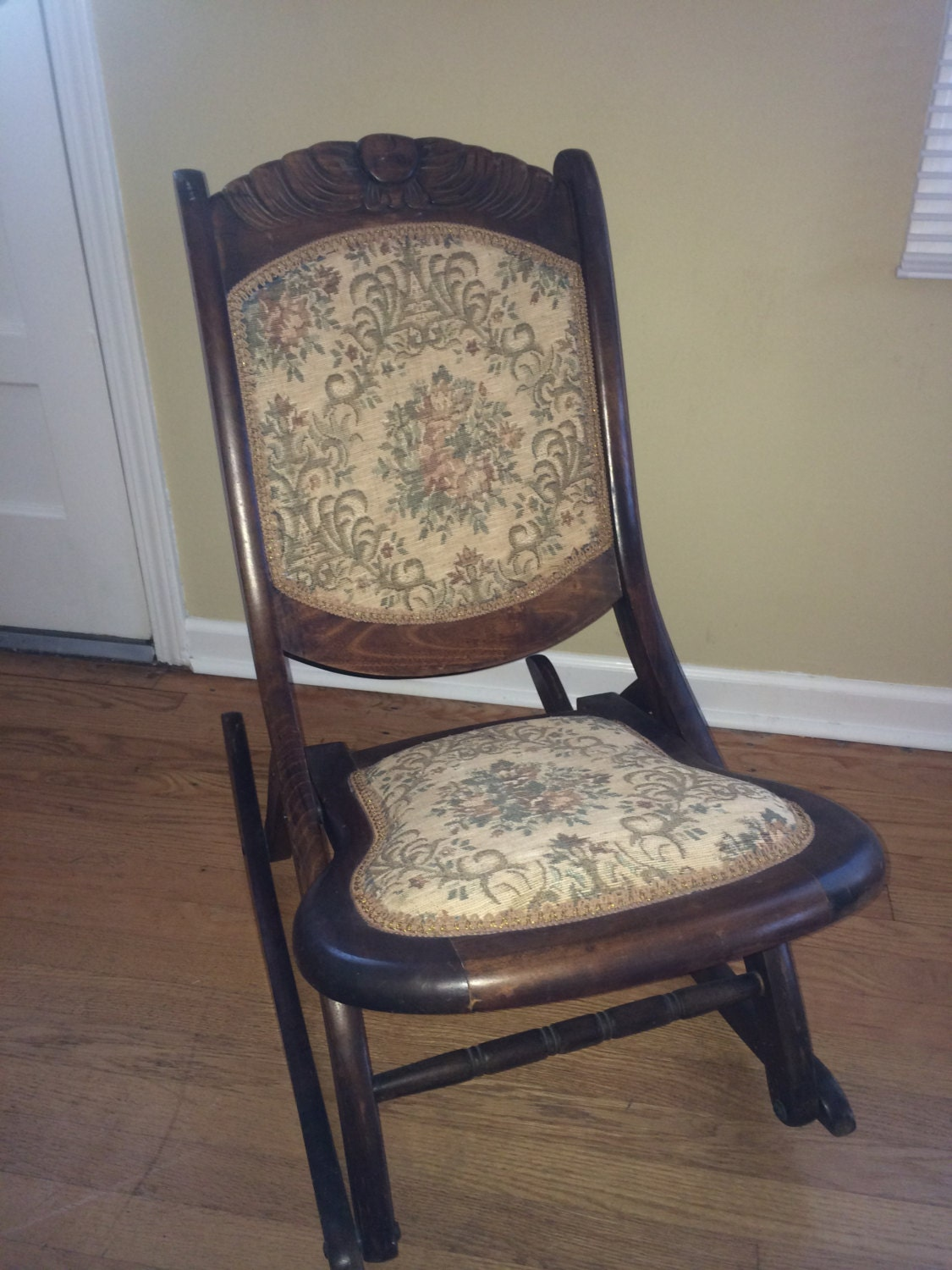 Antique Wooden Chairs ~ Wooden hand carved antique rocking chair embroidered seat and