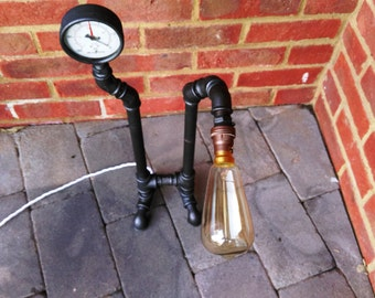 Items similar to repurposed steam punk pipe desk lamp on for Gas pipe desk lamp
