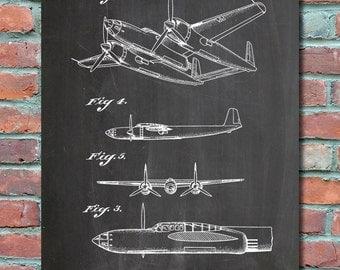 Howard Hughes Aircraft 1943 Patent Wall Art Print, Blueprint, Patent Print, Patent Poster, Plexity Prints #034