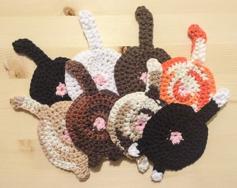 Cat butt coasters (set of 4) - Fun and Unique! Custom made to order!