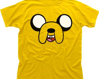 Adventure Time JAKE the dog cartoon network yellow cotton printed t-shirt 9937