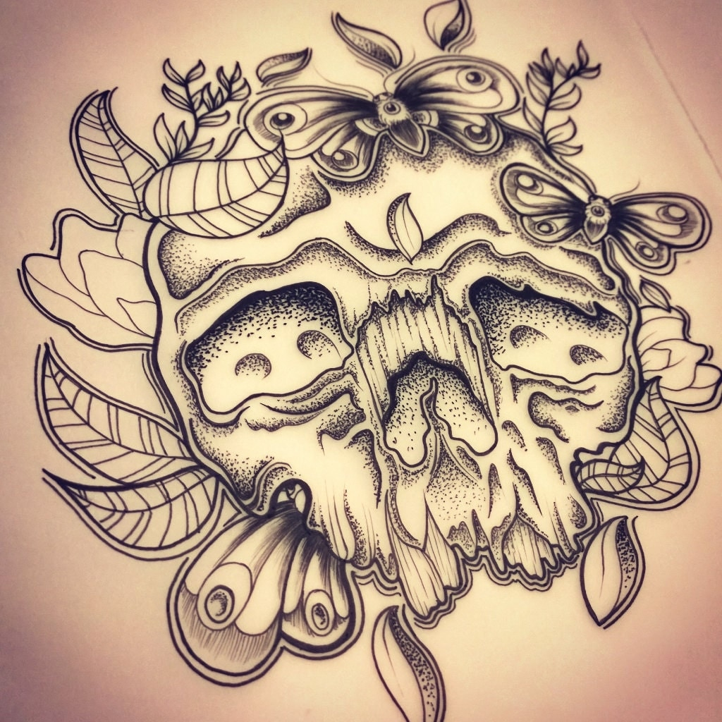 Skull Moth And Dot Work Tattoo Design Print By LadyEvzArt