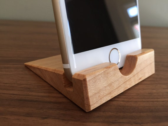 Iphone stand curly maple dock wood wooden