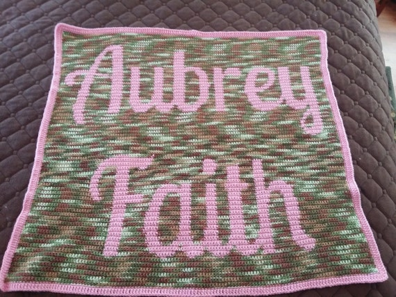 Crocheting Names On Blankets : Custom Crochet Baby Name Blanket by BenknitBows on Etsy