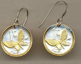 Earrings - New Guinea  Butterfly, Gorgeous 2-Toned Gold on Silver   Coin - Earrings