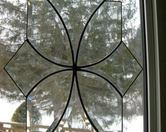 Clear glass bevel cluster